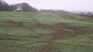 The damage near the 12th green at Notts Golf Club