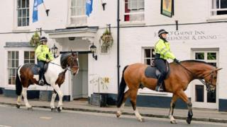 Mounted police patrolling