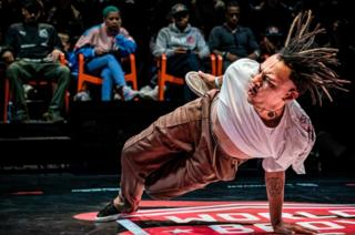 A dancer performs at the Breakdance World Cup in Eindhoven