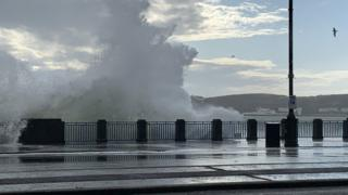 Waves breaking on Douglas Promenade