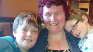 Claire Throssell with her sons.