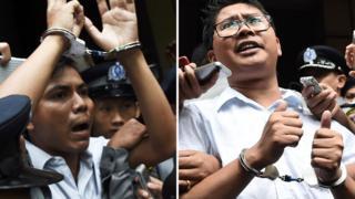 လက်ရှိမှာ ထောင်ဒဏ်ချခံနေရတဲ့ ရိုက်တာ သတင်းဌာနက မြန်မာ သတင်းထာက် ကိုကျော်စိုးဦး (ဝဲ)၊ ကိုဝလုံး (ယာ)