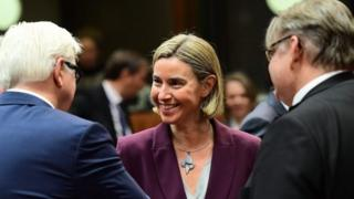 From left to right: German Foreign Minister Frank-Walter Steinmeier, EU foreign policy chief Federica Mogherini and Finnish Foreign Minister Timo Soini at a meeting in Brussels. Photo: 14 November 2016