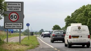 Car pass the border between the Republic of Ireland and Northern Ireland
