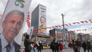 Ankara'da Mansur Yavaş ve Mehmet Özhaseki'nin pankartları