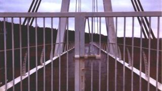 Gates closed on the Celtic Manor footbridge in Newport