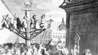 Part of Hogarth's print of the South Sea bubble, with speculators riding on a roundabout