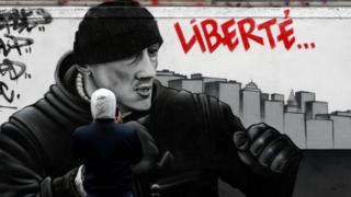 Un mural de Dettinger lanzando un puñetazo