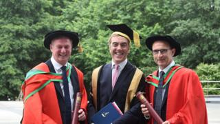 From left, Michael O'Neill, Chancellor of Ulster University and actor, Dr James Nesbitt, and Martin O'Neill