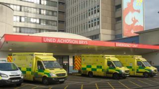 Outside the University Hospital of Wales
