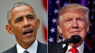 Президенттик мөөнөтү соңуна чыгып бараткан Барак Обама жана жаңы лидер Дональд Трамп.