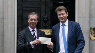 Nigel Farage and Richard Tice outside Downing Street