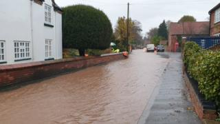 Flooding in Main Street, Woodborough