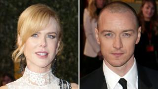 Nicole Kidman and James McAvoy on the red carpet at the Evening Standard Theatre Awards