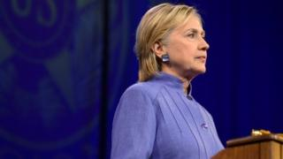 Democratic presidential nominee Hillary Clinton addresses the National Convention of the American Legion in Cincinnati, Ohio.
