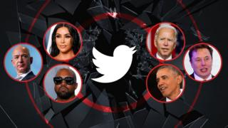 A photo illustration shows a range of celebrities - Kim Kardashian, Joe Biden, Elon Musk, Barack Obama, Kanye West, and Jeff Bezos - arrayed around a shattered glass image with the Twitter logo at its cetnre