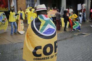 An opposition supporter draped in a flag attends an anti-Zuma protest on 12 April 2017