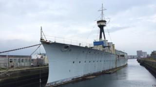 The HMS Caroline ship is undergoing restorations.