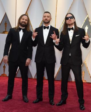 Max Martin (left). Justin Timberlake (centre) and Karl Johan Schuster