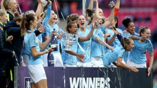 Manchester City women celebrate winning the 2018/2019 FA Cup