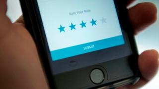 A mobile screen shows the Uber app asking a rider to rate their trip with a driver