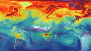 Mapa con los niveles globales de CO2