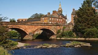 The River Annan, Annan Bridge and Town Hall, Dumfries and Galloway