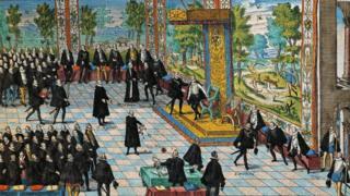 Ilustración de la abdicación de Carlos V y ascenso al trono de Felipe II.