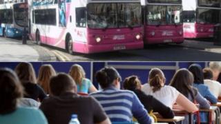Translink bus and school children