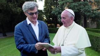 Pope Francis with Wim Wenders