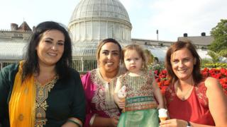 Zoreena Ahmed (left), Nazeeta Ahmed and Amira Ahmed celebrate the launch of the first ever Belfast Eid Festival with the Housing Executive's Race Relations Officer Sylwia McAvoy (right)