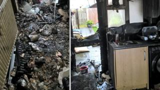 Fire damage at house
