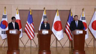 "Japan""s Foreign Minister Taro Kono, South Korean Foreign Minister Kang Kyung-wha and US Secretary of State Mike Pompeo"