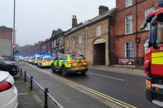 Emergency services at Saltergate in Chesterfield, Derbyshire