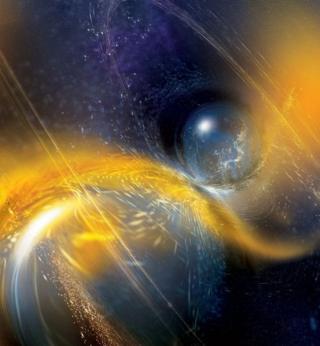 ภาพจากฝีมือศิลปินจำลองเหตุการณ์คู่ดาวนิวตรอนกำลังชนและรวมตัวเข้าด้วยกัน