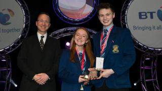 Loreto College students Sian Donaghy and Donal Close won an award for their Phone Book Physics project