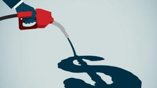 Illustration of petrol being poured, forming a dollar sign as it spreads on the floor