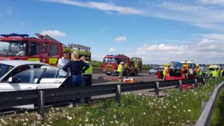 M1 disruption after J29A Markham Vale multi-vehicle crash