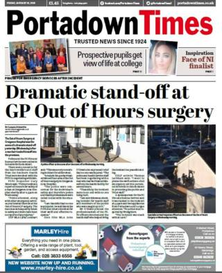 Front page of the Portadown Times