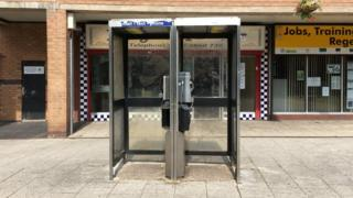 Phone box in Bridgeway Centre