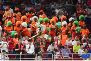 Fans cheer for Ivory Coast during FIBA World Cup 2019 group match between Cote d'lvoire and China