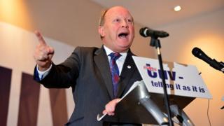 TUV leader Jim Allister addressing delegates at the party's conference