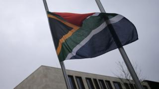 South African embassy with flag flying