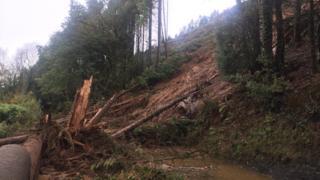 Scene of the landslide