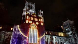 durham-cathedral-is-lit-up-by-abstract-shapes-and colours.