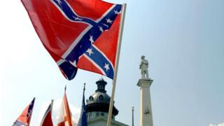 Confederate flags in front of the state house in Columbia, South Carolina