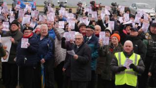 Veterans protesting outside Bennet House, Portrush, County Antrim