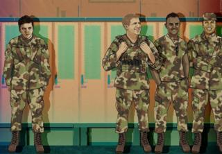 Illustration showing a locker room - one person stands apart from three others