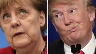 German Chancellor Angela Merkel (left) and US President-elect Donald Trump. File photos