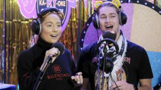 Strictly stars AJ and Saffron Barker joined him for a sing song